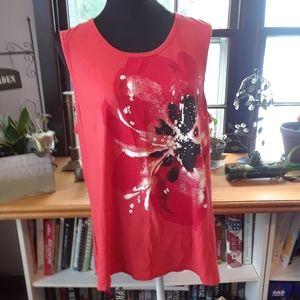 4/$15 Size 2X plus detail rhinestone floral top